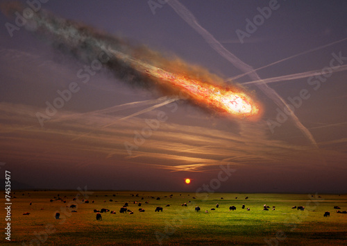 The asteroid impact on the planet earth. Canvas Print