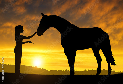 Fototapeta Girl with a horse at sunset obraz
