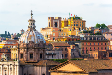 Beautiful view of Rome city, Italy. Old town skyline.