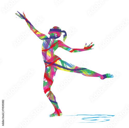 Fotografie, Obraz  silhouette astratta di ballerina