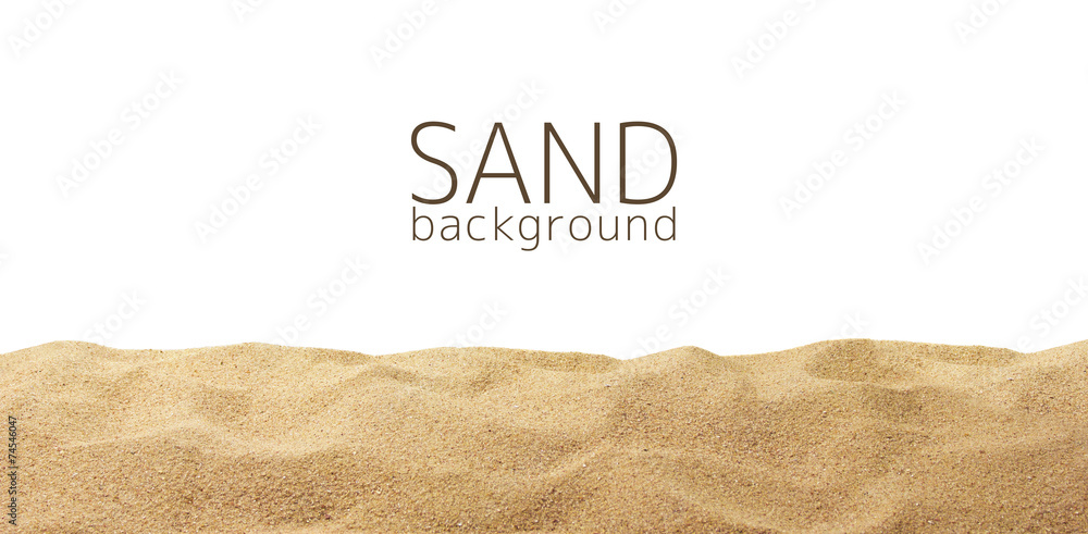 Fototapeta The sand scattering isolated on white background