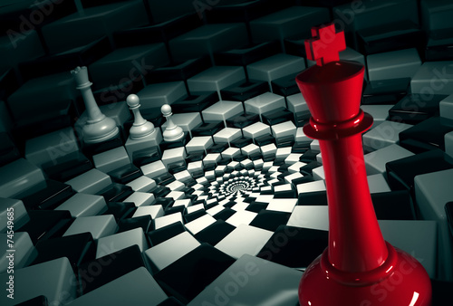 Tableau sur Toile red chess king on round chessboard vs white figures