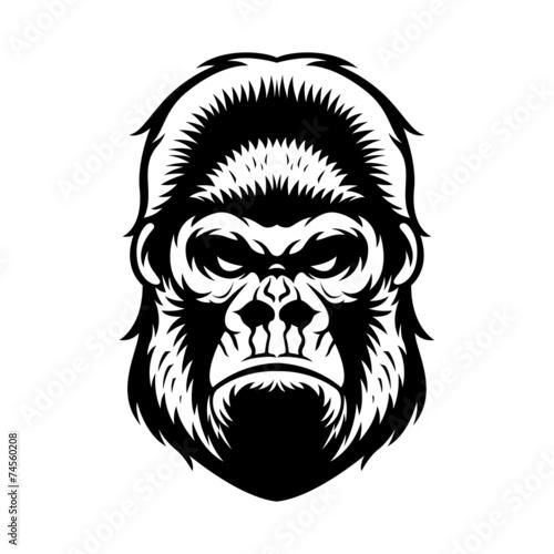 Gorilla Head BW Poster