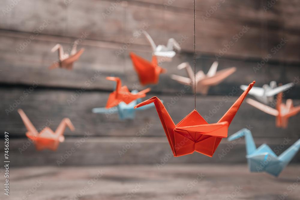 Fototapeta Colorful origami paper cranes