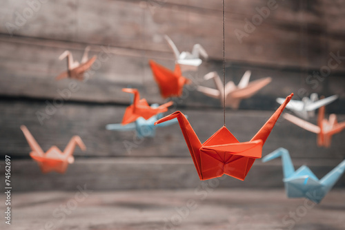 Photo  Colorful origami paper cranes