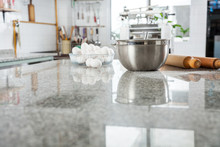 Ingredients On Marble Countertop In Commercial Kitchen