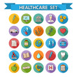 Leinwanddruck Bild - Health care doddle icons  set in flat style with long sha