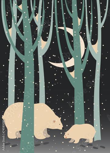 niedzwiedz-polarny-i-lisiatko-w-lesie