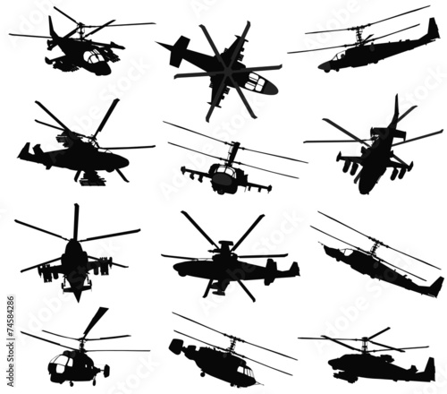 Photo  Military helicopter silhouettes set. Vector