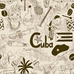 Retro sketch Cuban seamless pattern