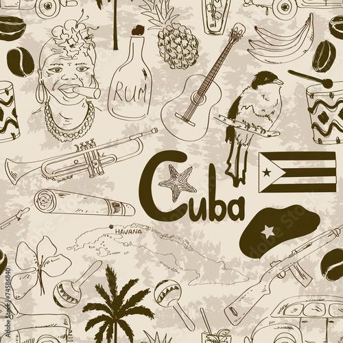 Retro sketch Cuban seamless pattern Fototapeta