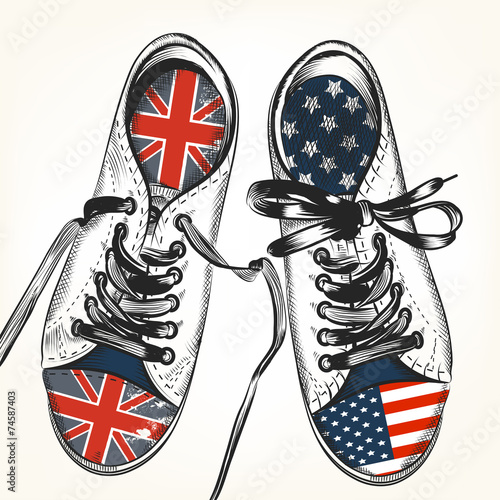 Fashion background with sports boots decorated by British and US Wall mural