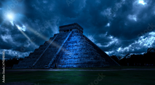 Mexico. Chichen Ittsa.Kukulkan's pyramid in a mystical moonlight #74598065