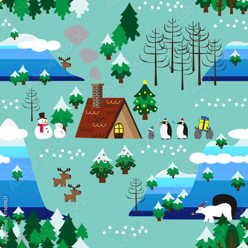 Cotton fabric Christmas theme landscape seamless pattern close up