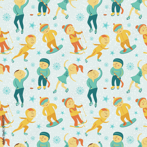 Cotton fabric Winter Sports seamless pattern with children, vector