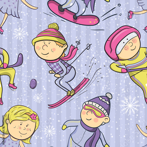 Cotton fabric Winter sports, vector cartoon sportsmen seamless pattern