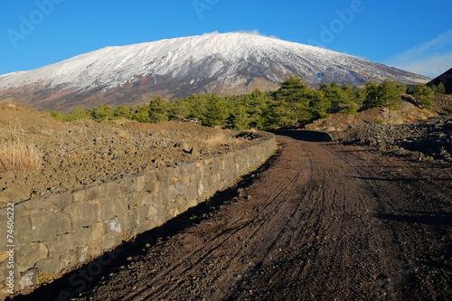 Fényképezés  Dirt Track To The Volcano Etna Snow Covered, Sicily