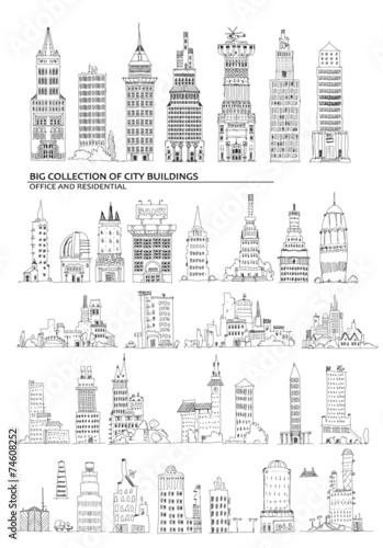 Fototapety, obrazy: City buildings set, Sketch collection