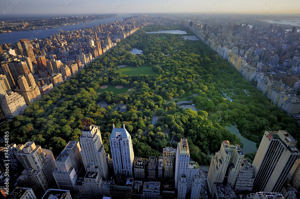 Fototapety, obrazy: Central Park aerial view, Manhattan, New York; Park is surrounde
