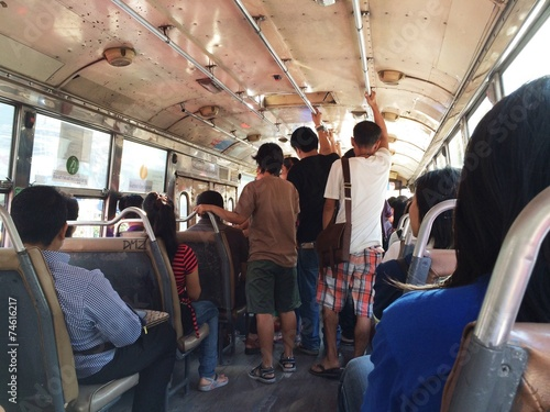 Tuinposter Transportation by bus in Bangkok