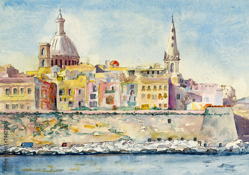 Fotografie, Obraz  A watercolor painting of Valletta, Malta