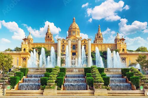 Photo Stands Barcelona National Museum in Barcelona,Placa De Espanya,Spain.