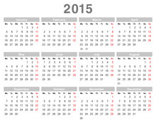 2015 Year Annual Calendar (Monday First, English)