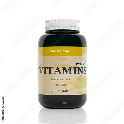 Fotografia  3D vitamins bottle isolated on white background