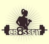 cross fit logo with girl vector illustration, eps10