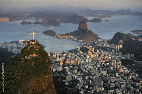 Aerial view of Christ, Sugarloaf, Guanabara Bay, Rio de Janeiro Poster