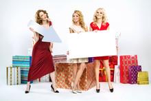 Adorable Women Holding White Board