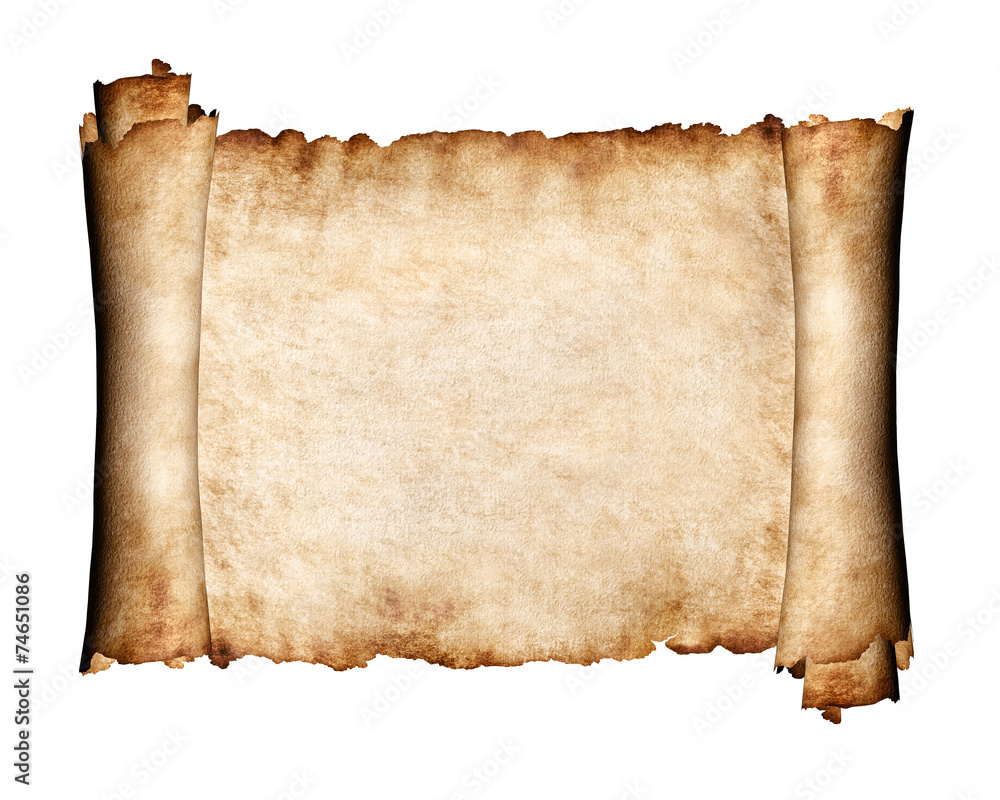Fototapety, obrazy: Unfolded piece of parchment antique paper background