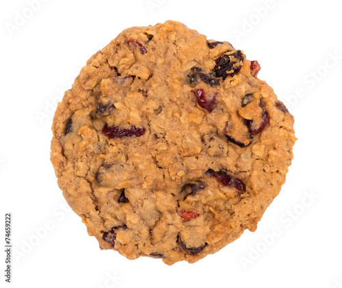 Photo  Cranberry oatmeal raisin cookie isolated on white