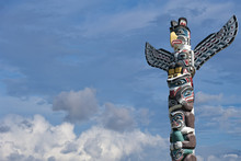 Totem Wood Pole In The Blue Cl...