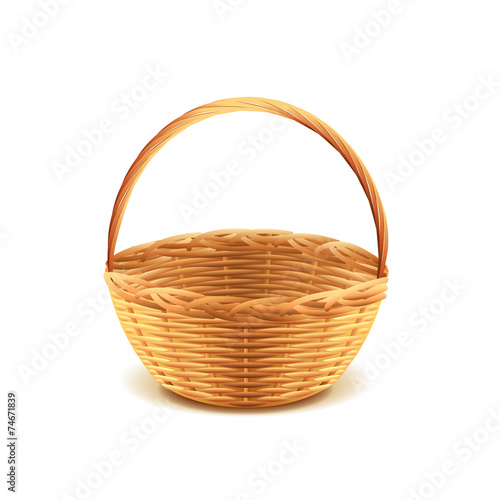 Fotografija  Wicker basket isolated on white vector