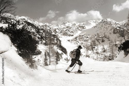 Black and white photos, Skier with vintage skis