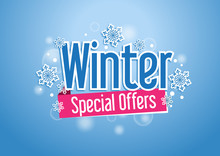 Winter Special Offers Word With Snows In Blue Background