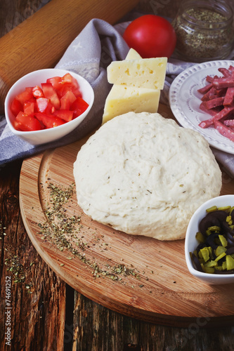 Fotografie, Obraz  dough and ingredients for pizza