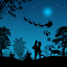 Lovers In Beautiful Blue Night, With Santa's Sleigh