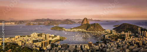 Türaufkleber Rio de Janeiro Panorama of Botafogo Bay in Rio de Janeiro, Brazil