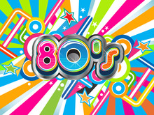 80s Party Illustration Logo Background