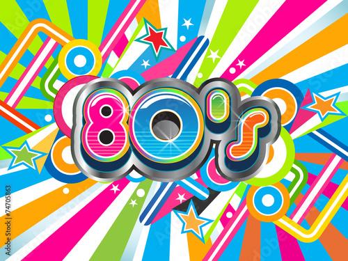 Papel de parede  80s Party illustration logo background