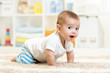 canvas print picture - crawling baby boy indoors