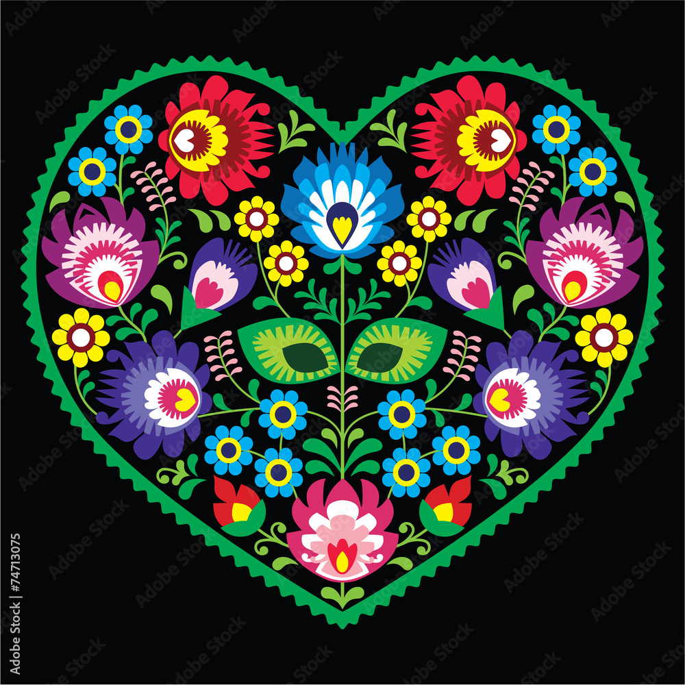 Fototapeta Polish folk art art heart with flowers - Wycinanki on black
