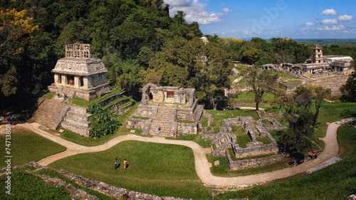 Mayan ruins in Palenque, Chiapas, Mexico. Palace and observatory #74713808