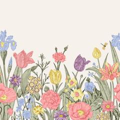 FototapetaSpring flowers. Seamless floral border.
