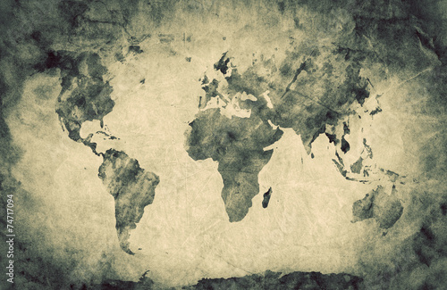 Ancient, old world map. Pencil sketch, vintage background Canvas Print