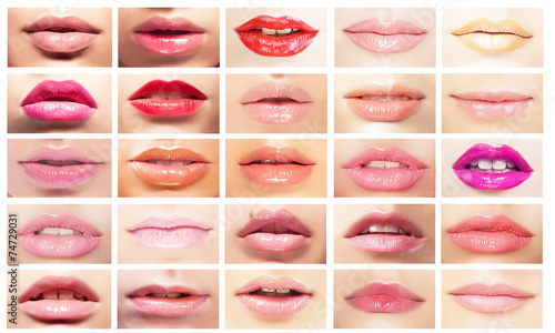 Photographie  Female's Mouths. Set of Women's Lips. Bright Makeup & Cosmetics