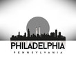 Philadelphia Pennsylvania USA Skyline Silhouette Black vector