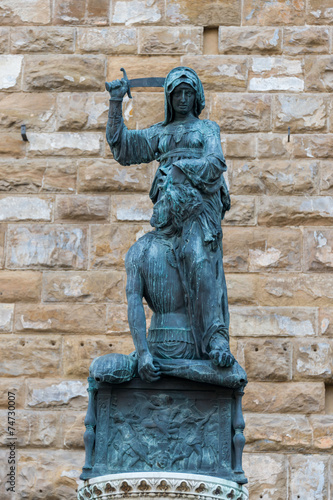 The statue of Judith and Holofernes, florence Poster
